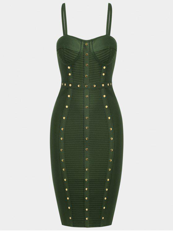 best Embellished Cami Bandage Dress - ARMY GREEN L