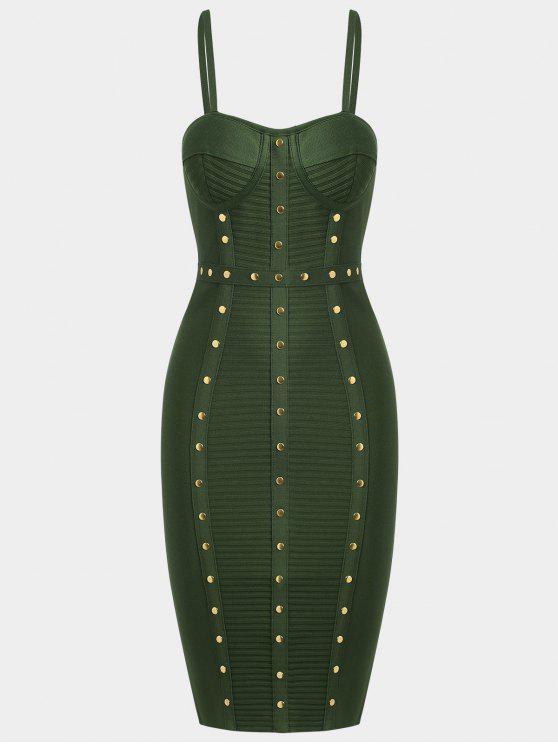 Vestido de vendaje Cami adornado - Verde del ejército M