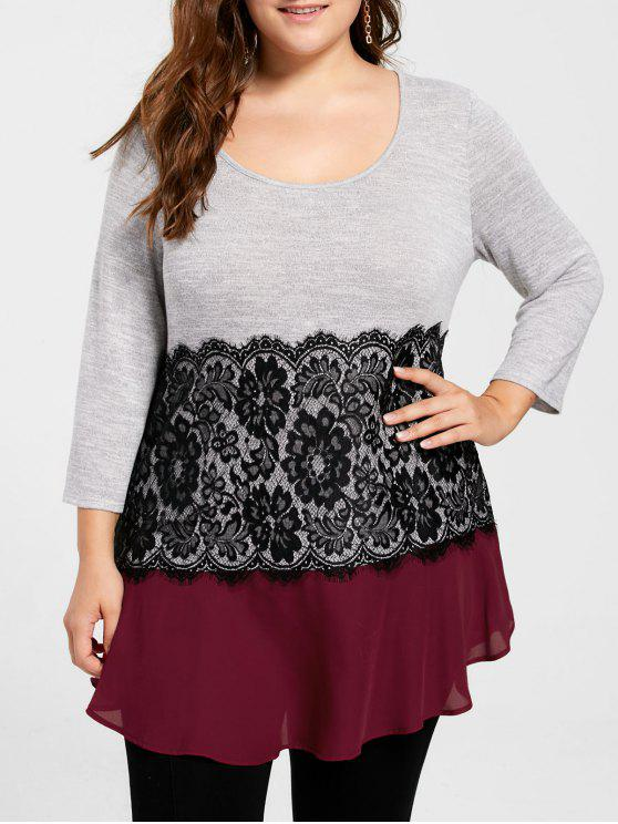 Plus Size Lace Trim Flowy Top - Rosso XL