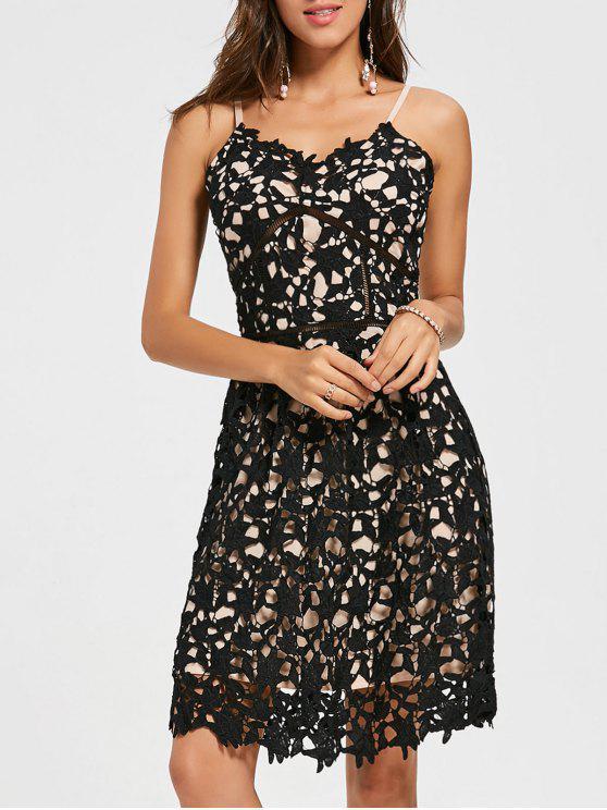 فستان السهرة محبوك كامي دانتيل مصغر - أسود S