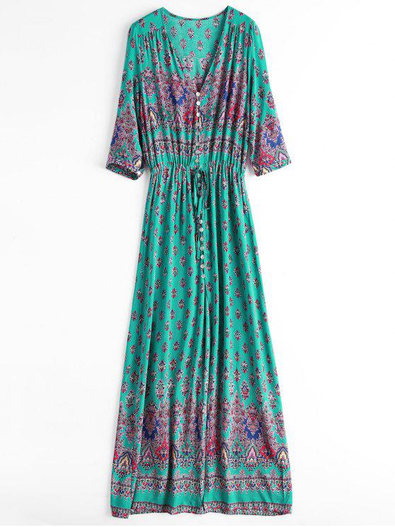 فستان ماكسي زر انقسام طباعة - اخضر فاتح XL