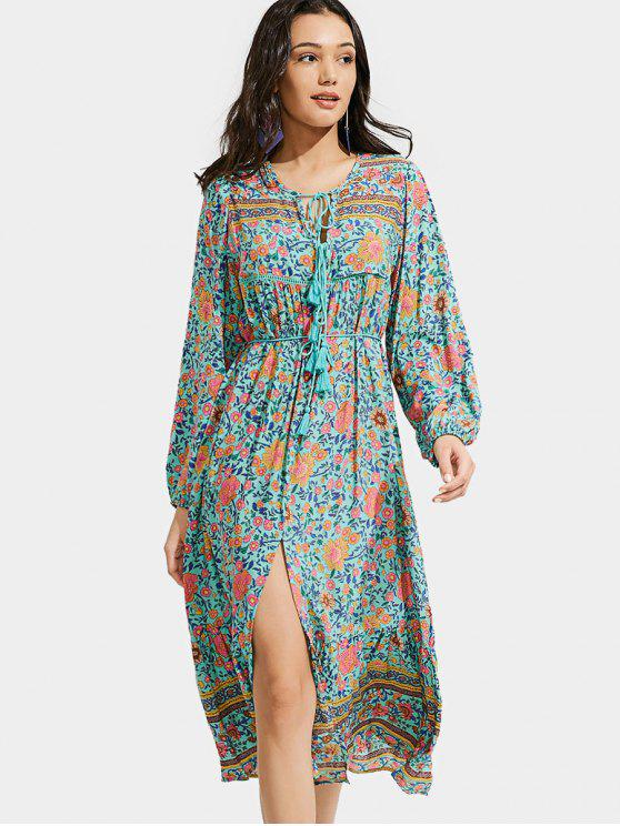 women Front Slit Floral Tassels Long Sleeve Dress - FLORAL M