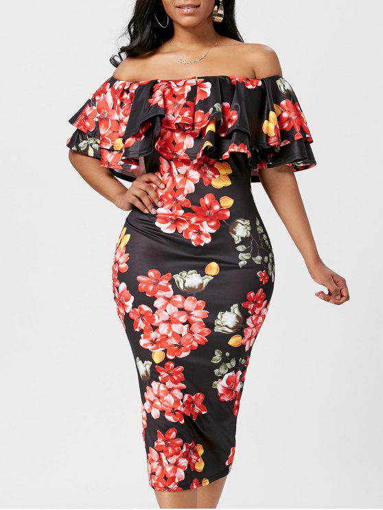 c72f85bf7572 38% OFF] 2019 Floral Ruffle Off The Shoulder Bodycon Dress In BLACK ...