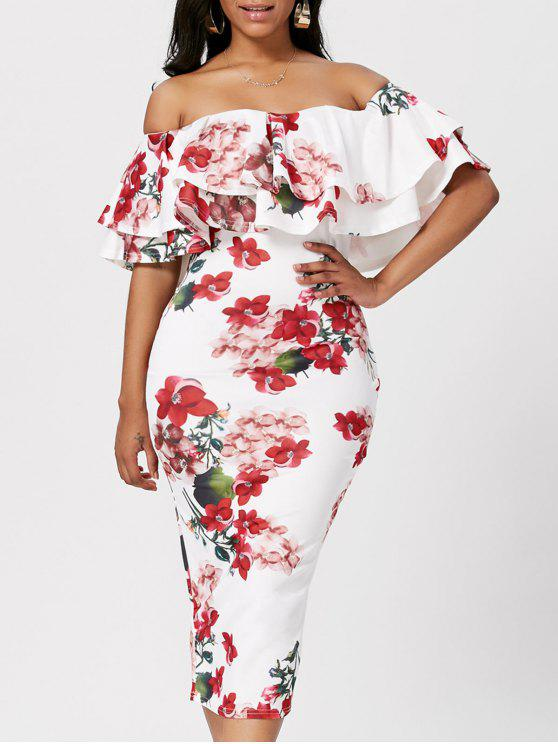 22eaee0745e9 26% OFF  2019 Floral Ruffle Off The Shoulder Bodycon Dress In WHITE ...