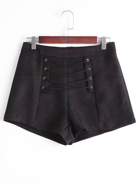 fashion High Waisted Lace Up Shorts - BLACK M