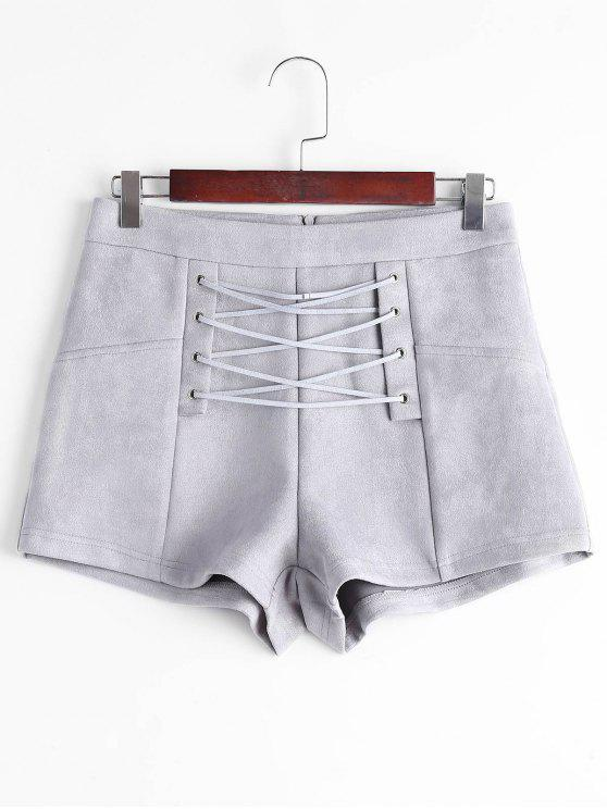trendy High Waisted Lace Up Shorts - GRAY M
