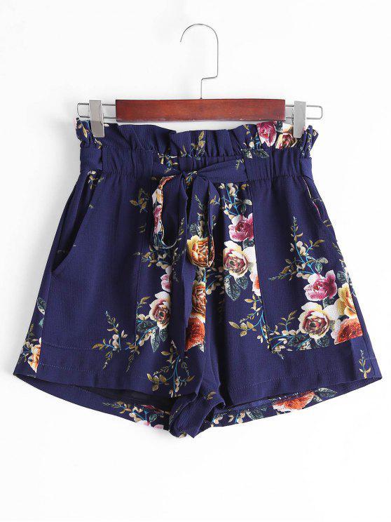 Pantalones cortos con cuello alto floral con volantes - Azul Purpúreo M