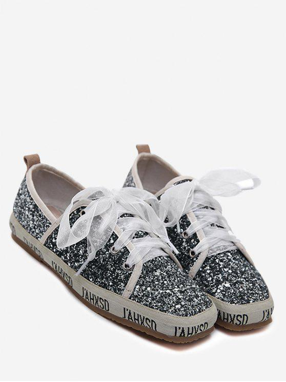 womens Sequined Square Toe Sneakers - GRAY 37