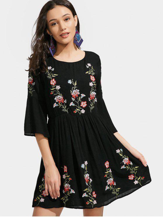 hot Lined Floral Embroidered A Line Dress - BLACK L