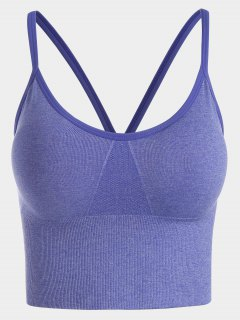 Contrast Trim Sports Bra - Larkspur S