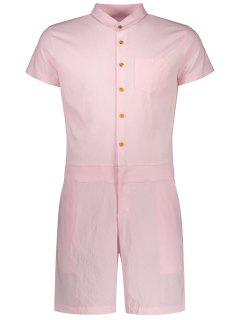 Short Sleeve Single Breasted Romper - Pink Xl