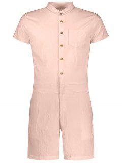 Short Sleeve Single Breasted Romper - Apricot Xl