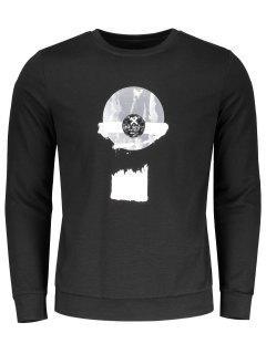 Patterned Crew Neck Sweatshirt - Black 2xl