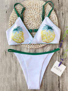 Banded Ananas Tanga Bikini - Weiß S