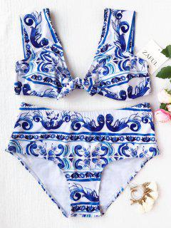 Patterned High Waisted Plus Size Bikini - Blue And White Xl