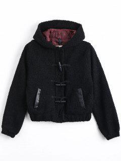 Wool Lamb Hooded Duffle Jacket - Black S