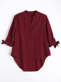 Bow Tied Sleeve High Low Blouse - Wine Red M