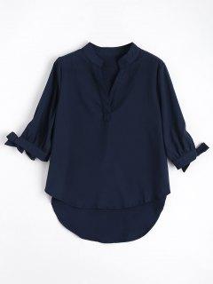Bow Tied Sleeve High Low Blouse - Purplish Blue M