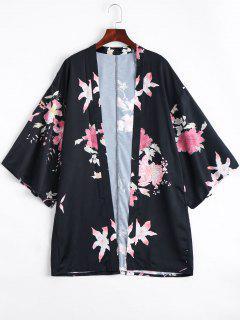 Open Front Flower Kimono Blouse - Floral M