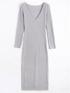 Long Sleeve Ribbed Slit Knitting Dress - Gray S