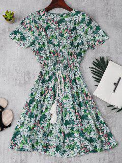 Smocked Floral Button Up A Line Dress - Green S