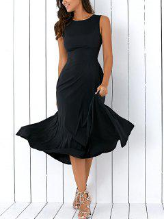 Sleeveless Round Neck Loose Fitting Midi Dress - Black S