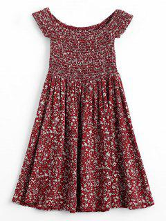 Tiny Floral Smocked Off Shoulder Mini Dress - Wine Red L