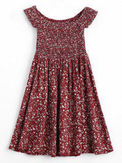 Mini Robe Smockée Florale à Épaules Dénudées - Rouge Vineux  L