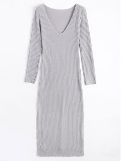 Long Sleeve Ribbed Slit Knitting Dress - Gray M