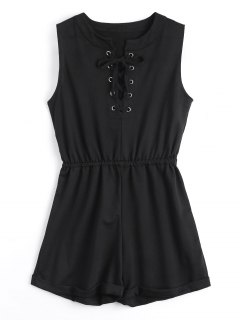 Elastic Waist Lace Up Romper - Black M