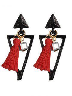 Metal Triangle Bohemian Tassel Earrings - Red