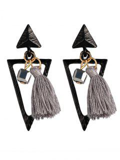 Metal Triangle Bohemian Tassel Earrings - Gray