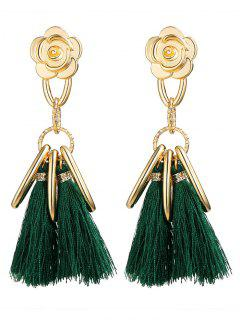 Alloy Flower Circle Tassel Vintage Earrings - Green