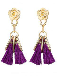Alloy Flower Circle Tassel Vintage Earrings - Purple