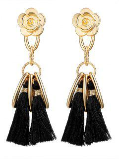 Alloy Flower Circle Tassel Vintage Earrings - Black