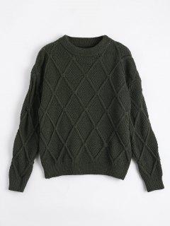 Loose Diamond Sheer Sweater - Army Green