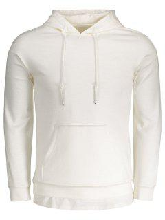 Drawstring Kangaroo Pocket Plain Hoodie - White L