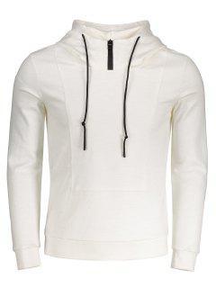 High Neck Pullover Hoodie - White 5xl