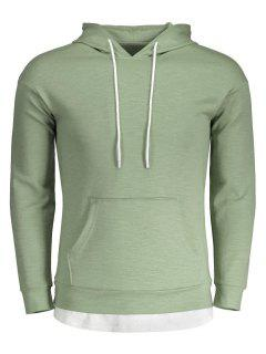 Drawstring Kangaroo Pocket Plain Hoodie - Light Green L
