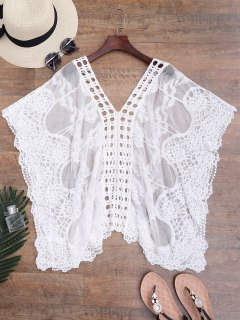 Crochet Sheer Mesh Kaftan Cover-up - Blanc