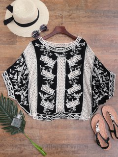 Embroidered Crochet Batwing Cover-up - Black