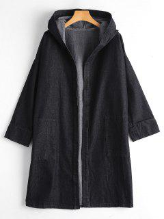 Drop Shoulder Pockets Hooded Denim Coat - Black