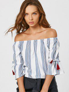 Off Shoulder Striped Blouse - White S