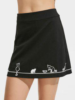 Cute Cat Embroidered A Line Mini Skirt - Black M