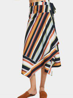 Stripes Asymmetrical Wrap Maxi Skirt - Stripe S