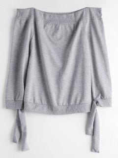 Off The Shoulder Self Tie Sweatshirt - Gray S