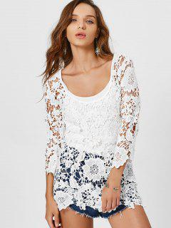 Hollow Cut Scoop Crochet Top - White Xl