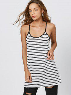 Cami Striped Summer Mini Dress - White And Black M