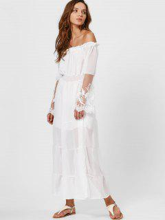 Ruffles Smocked Off Shoulder Maxi Sheer Dress - White M
