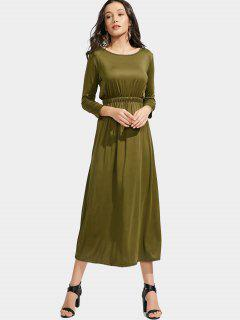 Long Sleeve Elastic Waist Maxi Dress - Army Green L
